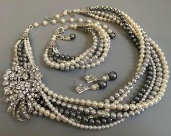 Complete Jewelry Set Necklace Bracelet Earrings Dark Grey Light Gray Ivory twisted Swarovski Pearls Rhinestone Brooch mother of the bride