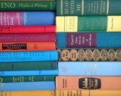 Vintage Books by the Foot Instant Library Decorative Book Stack 25 Custom Colorful Rainbow Books for Wedding, Bookshelves , Display Etc.
