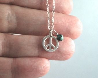 Peace sign + Turquoise sterling silver necklace. Cute everyday necklace for layering. Dainty delicate jewelry a nice gift for yoga lover!!