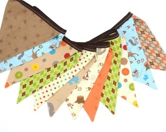 READY to SHIP! Reusable Fabric Bunting, Banner, Flag, Photo Prop, Decoration, Fox Trails, Boys,Argyle, Camping, Deer, Foxes, Blue, Green
