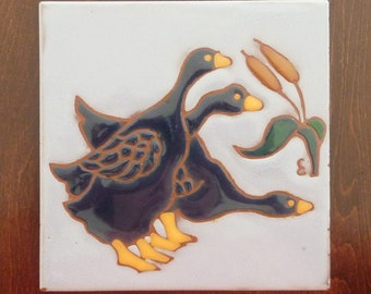 Vintage Handcrafted Art Tile by Elaine Cain - Ceramic Tile Trivet or Wall Decor - Artist Signed  and Dated