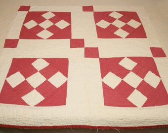 """Beautiful Old Red and Ivory """"Cross Roads to Jericho"""" 1800s Antique Cutter Quilt Piece with Wonderful Shell Quilting - 31 x 31 Inches"""