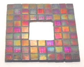 Rustic Pilar Candle Holder Stained Glass Mosaic Table Top Glass Tile End Table Coffee Table Home Decor Micro Mirror