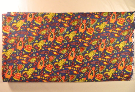 Retro rocket flannel fabric planets stars by secondhandscore for Space flannel fabric