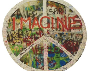 Peace Sign Sticker The Beatles John Lennon Imagine decal round