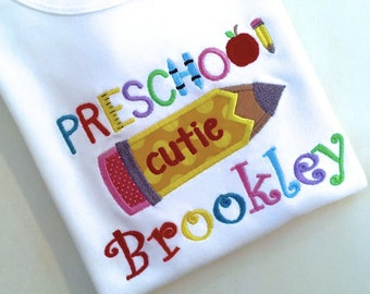 Embroidered  Preschool Pencil Alpha and Name with Name choose fabrics and threads