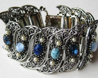 Vintage 60s Wide Jeweled Sapphire Blue Rhinestone Silver Panel Link Bracelet