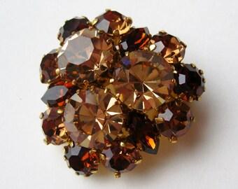 Vintage Art Deco Amber Topaz Austrian Crystal Jeweled Rhinestone Brooch Pin