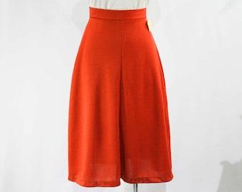 Size 2 Burnt Orange A-Line 1970s Skirt - Fall - Autumn - Flirty Side Slits - 70s Casual Classic - Deadstock - NWT - Waist 24 to 24.5 - 44787