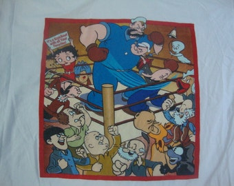 Vintage Popeye Boxing Brutus Casper The Fiendly Ghost Betty Boop The Three Stooges Cartoon Comic Book T Shirt XL