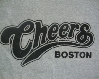 Vintage 80's CHEERS TV show Ted Danson Shelly Long Gray Screen Stars Boston 50/50 T Shirt M