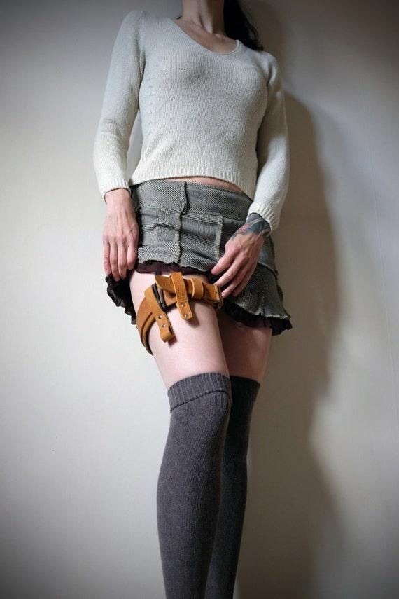 leather garter belt brown steunk burning