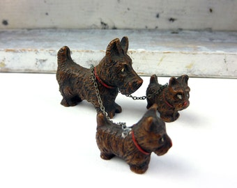 Vintage Brown Scotties-Dog Family-Mother and Two Puppies- Linked by Chain - Red Collar-Brown Dogs -1940s
