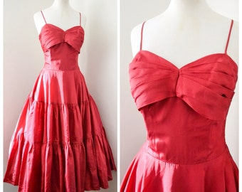 1950s Cranberry red taffeta boned evening dress with full tiered skirt / early 50s formal dress - XS