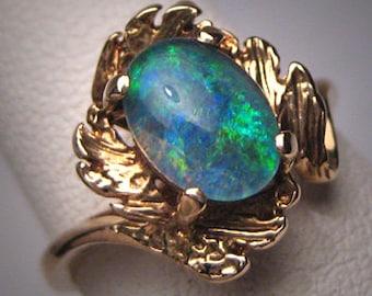 Vintage Australian Opal Gold Ring Estate Wedding Retro Art Deco 1950