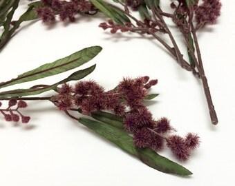 Artificial Flowers - 6 Sprays of BURGUNDY Mimosa Stems - Flower Crown, Halo, Woodland Crown