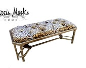 Tufted Bench Coffee Cocktail Table Faux Bamboo Gold Leopard Velvet Nailhead Trim Chinese Chippendale Fretwork Palm Beach Glam