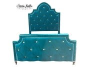 Tufted Bed Velvet Crystal Pearl Rhinestone Button Upholstered Headboard Teal Queen King Full Twin Nailhead Trim Platform Bed BY CUSTOM ORDER