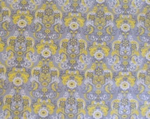 Grey Fabric Yellow and Grey Fabric Cotton Fabric Yellow Grey and White Fabric Cotton Classic Material