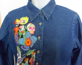 Day-of-the-Dead Shirt Size S Day of the Dead Blouse All Souls Day Fabric Art Denim Shirt One of a Kind Gift for Her Dia De los Muertos Shirt