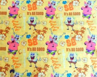 Sponge Bob Fabric Patrick and Sponge Bob Material Nickelodeon Sponge Bob Square Pants Fabric