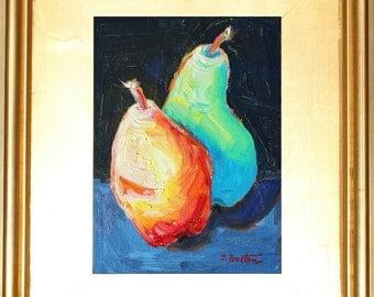 "Pears Oil Painting Portrait, Original Still Life, Oil Painting, Small Painting in 3"" wide Frame, Gift Item, Modern Still Life, Impressionist"
