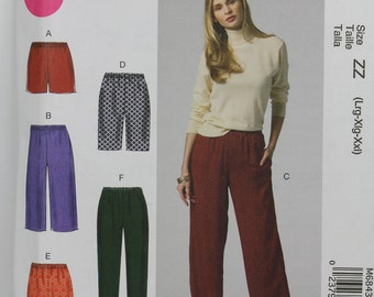 Size 16 18 20 22 24 26 Shorts Pants Slacks Bermuda Trousers Fashion McCalls M6843 Misses Womens Uncut Sewing Pattern