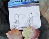 Purple Mookaite jasper flower earrings pink purple red tan yellow semiprecious stone jewelry packaged  in a colorful gift bag 2918