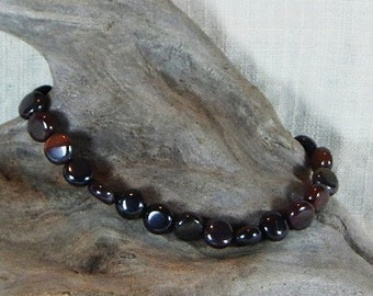 """Red silver banded iron formation bracelet 8.5"""" long circles hematite jasper lobster clasp semiprecious stone jewelry in gift bag 11617"""