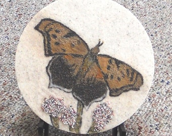 "Question Mark Butterfly on Blazing Star 7"" circle original sand painting sand art butterfly painting native wildflowers common butterflies"