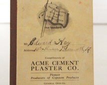 Time Book Acme Cement Plaster Co. 1920's Ephemera