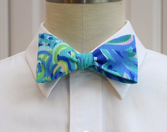 Men's Lilly Bow Tie in sea blue Lilly's Lagoon, self-tie bow tie, groomsmen's gift, wedding party wear, blues, lilac, yellow, groom bow tie