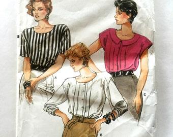 80s Vogue 9525 Blouse with Drop Shoulders, Cap Sleeves, Shoulder Pads - Size 8 10 12  Bust 31 32 34