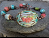 SALE Coral Orange Aqua Blue Spring Green Tea Cup Bracelet Bright Fun Bracelet Ceramic Beaded Bracelet Pottery bead Bracelet