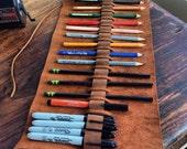 Warrington pencil case, handmade leather pen roll, leather wrap, pencil pouch, handmade leather holder, pen sleeve, artist roll, Aixa Sobin