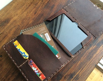 Goerck iPadmini folio, handmade leather case, brown bridle leather case, handmade iPad mini covers and folios with pockets by Aixa, maker