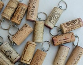 Wine Cork Key Rings - 25 Cork Party Favors - recycled oak wine corks - Celebrate with Cork Key chains