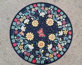 "18"" round, garden mosaic tile table. Handmade ceramic butterfly flower mosaic art tiles."