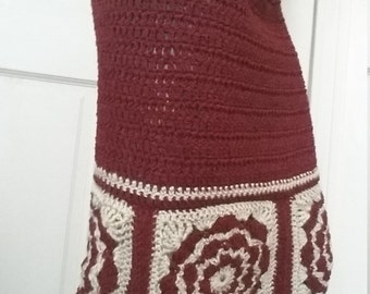 Red & Cream Crochet Pencil Skirt