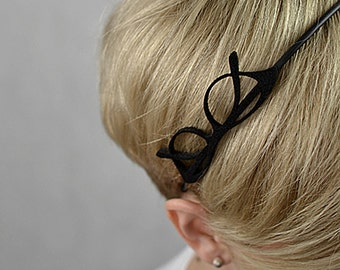 Black headband with felt glasses