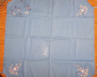 Vintage 1940s / 1950's Tablecloth-Embroidered Designs-BLUE COTTON-Card or Bridge Table
