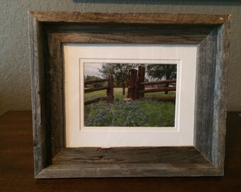Texas Bluebonnets in a rustic frame