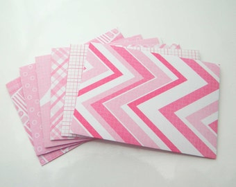 Paper Envelopes - Handmade Mini Envelopes. Set of 6 - Thank You Note Envelopes. Pink White Figures Gift Card Envelopes, Party Bachelor Favor