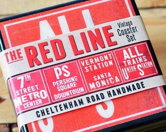 Los Angeles Coaster Set, LA Red Line Subway Art Coasters, Wood Drink Coasters, Los Angeles Art, Hostess Gift,  Train Art,  Railroad Art