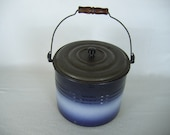 Graniteware Enamelware Pail with Bail and Lid Country Primitive Blue with Light Stripe