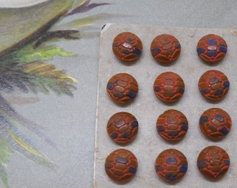 12 Vintage Czech Brown Painted Glass Miniature Diminutive Buttons Unused on Card Lot 5