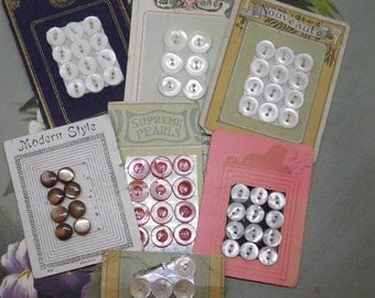 7 Cards Vintage Mother of Pearl Shell Buttons 68