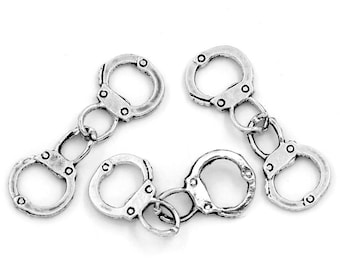 10pcs. Antique Silver Hand Cuffs Charms Pendants - 17x12mm