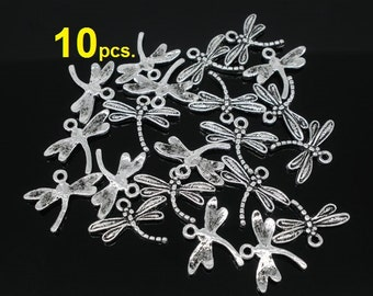 10 pcs. Antique Silver Dragonfly Charms Pendants - 15mm X 17mm