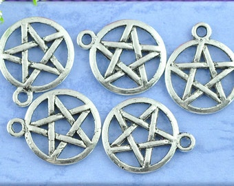 50 pcs. Antique Silver Pentagram Charms Pendants - 20 X 17mm